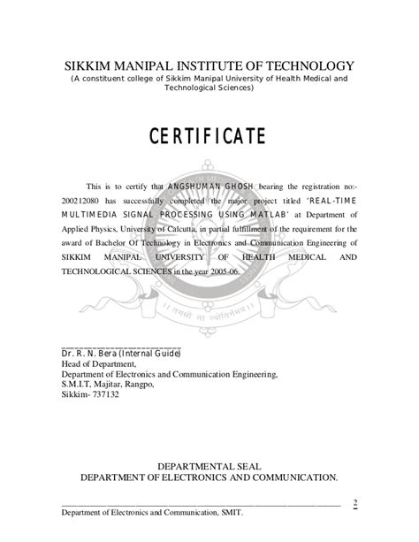 Sikkim Manipal Mba Certificate Copy by Real Time Multimedia Signal Proccesing Using Matlab