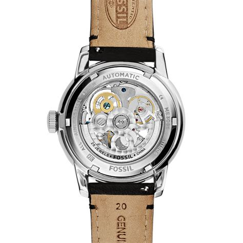 Fossil Fs0111 Silver Black townsman automatic black leather fossil