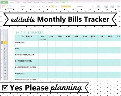 Bill Payment Tracker Spreadsheet by Household Bill Tracker Monthly Bills Spreadsheet Bill