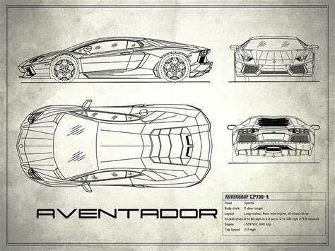 Lamborghini Aventador Blueprint The Aventador Blueprint White Photograph By Rogan