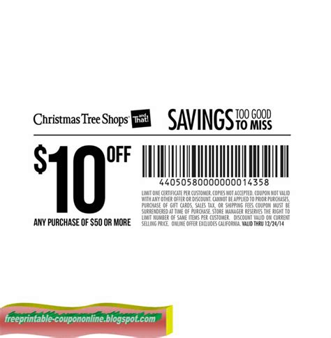 printable coupons 2017 christmas tree shops coupons
