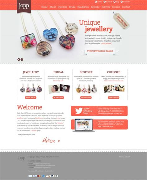 Handmade Websites - jopp beautiful unique handmade jewellery webdesign