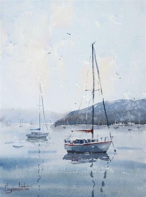 sailing boat watercolour boats and sea chrysovalantou mavroudis watercolour artist