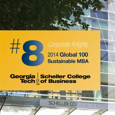 George Mba Program Ranking by Scheller Ranked 8th In Corporate Knights Global 100