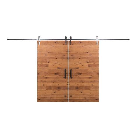 Bi Parting Barn Door Hardware Rustica Hardware Bi Parting 36 In X 84 In Rustica Reclaimed Clear Barn Doors With Rubbed