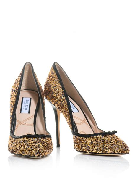 gold sequin shoes for choi sequin point toe shoe in gold lyst