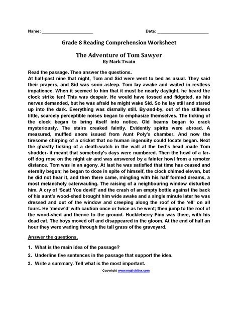 grade 8 reading comprehension worksheets pdf reading worksheets eighth grade reading worksheets