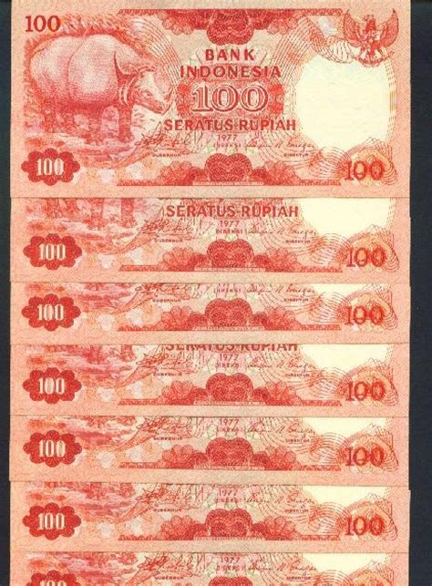 100 Perahu Pinisi 1992 Empat Nomor Seri Urut koleksi tempo doeloe koleksi uang kuno seratus rupiah th 1977 gambar badak kondisi unc 10