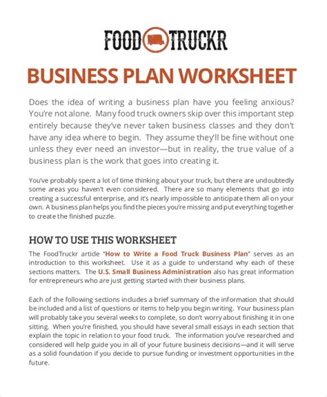 Food Truck Business Plan Template 11 Sle Food Truck Business Plans Pdf Word Pages Sle Templates