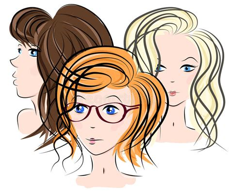 cute hairstyles vector three girls face stock vector image 69892728