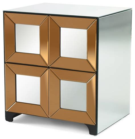 Bedroom Stands Mirrored Tonal Silver And Bronze Mirrored Stand