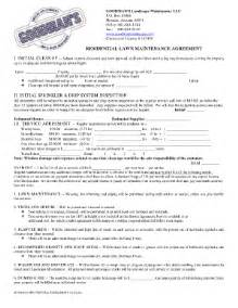 Sle Landscape Maintenance Contract by Free Printable Lawn Service Contract Form Generic Sle