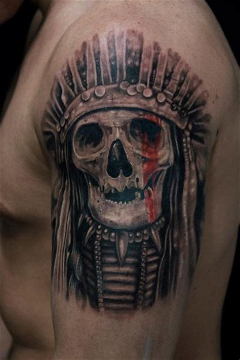 shoulder skull indian tattoo by mumia tattoo