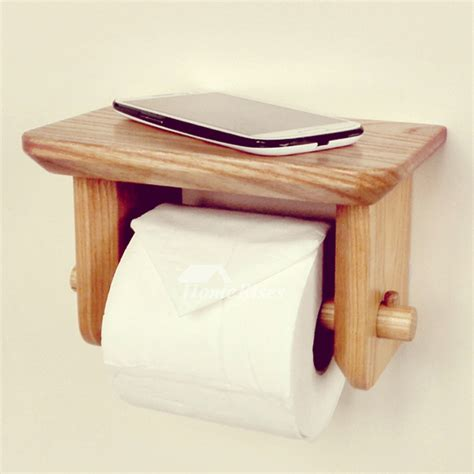 toilet paper holder wood wood toilet paper holder wall mount with shelf natural