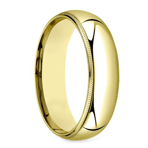 mid weight milgrain s wedding ring in yellow gold 6mm