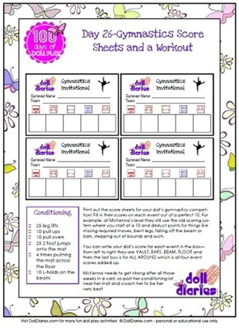 gymnastics score card template doll play day 26 make a folding gymnastics mat for your