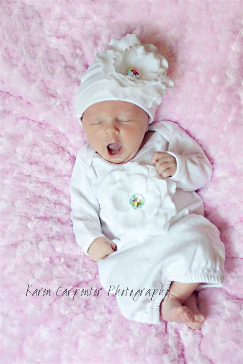 white flower gown take home for newborn