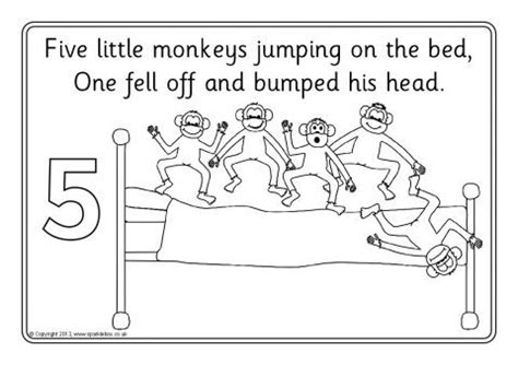 ten little monkeys coloring page five little monkeys jumping on the bed colouring sheets