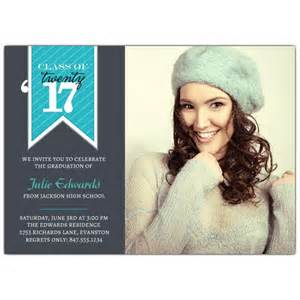 Banner blue photo graduation invitations paperstyle