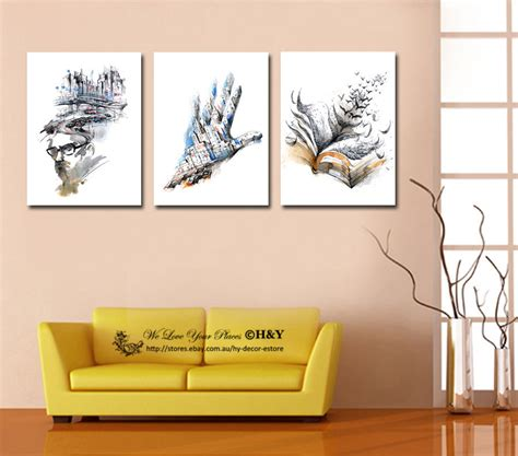 at home wall decor set of 3 abstract stretched canvas prints framed wall art