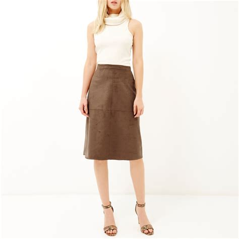 river island brown faux suede midi skirt in brown