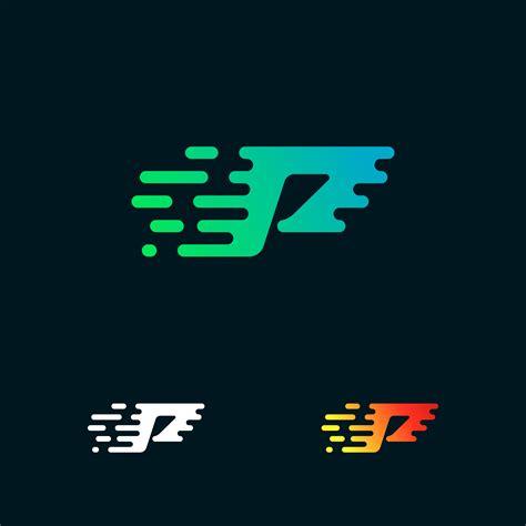 letter p modern speed shapes logo design vector