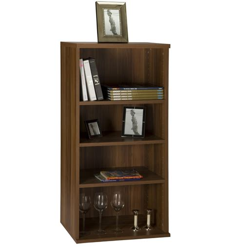 four shelf bookcase wall mountable unit walnut