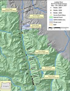 mountains in oregon map bull trout redd monitoring wallowa mountains