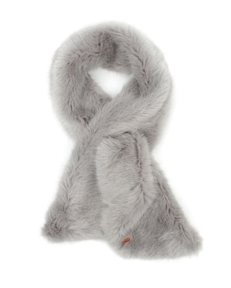 ted baker faux fur scarf in gray lyst