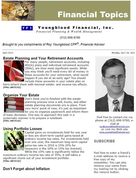 Financial Services Newsletter Yfi Newsletters