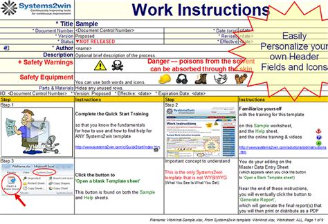 iso 9001 work instruction template images templates