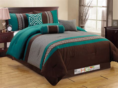 Teal Queen Comforter Set 7 Pc Quilted Triangle Meander Greek Key Comforter Set