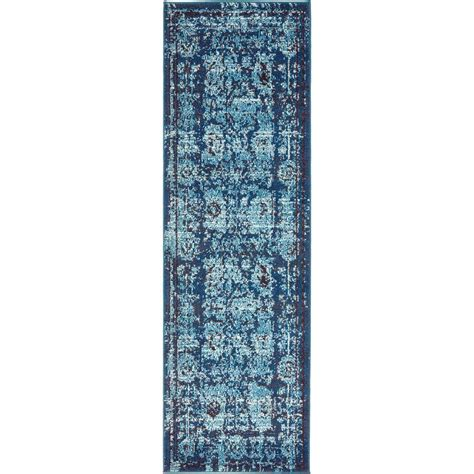 2 x 6 runner rug unique loom vintage palazzo blue 2 ft x 6 ft runner rug 3136252 the home depot