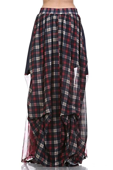 tov maxi plaid skirt from manitou springs by la henna