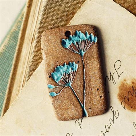 Pottery Jewelry Handmade - dill handmade ceramic pendant