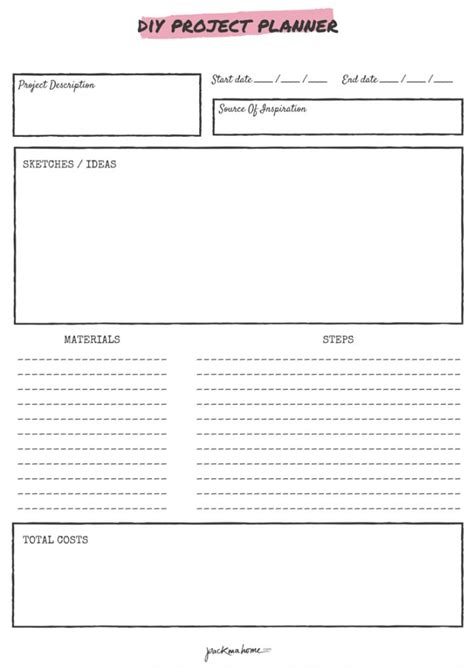 free project planner template free printable diy project planner planners projects