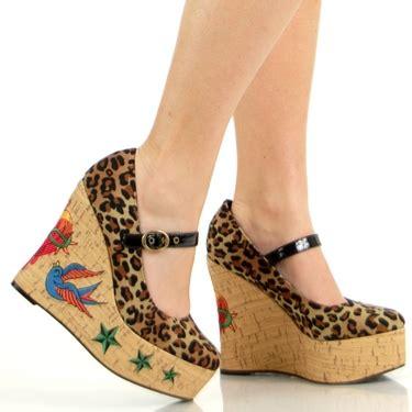 rockabilly leopard wedge shoes ebay