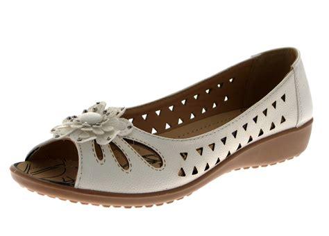 Flat Shoes Flower Mr02 womens faux leather comfort cut out flat shoes flower sandals size uk 3 8 ebay