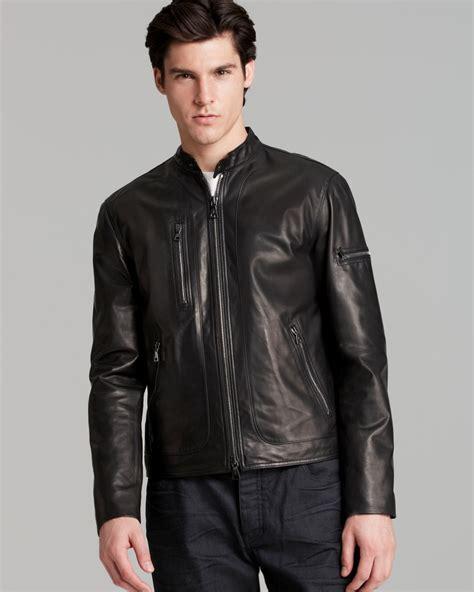 short jackets for men john varvatos collection short zip leather jacket in black