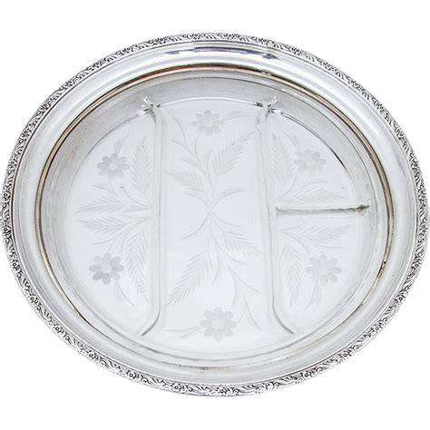 sectional plate large floral sectional serving plate tray cut glass