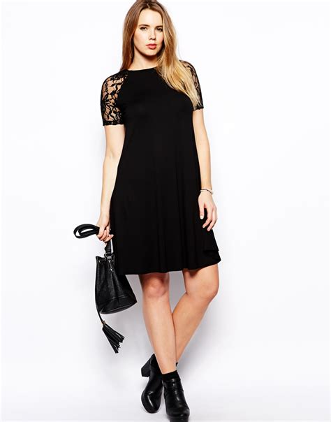 asos curve swing dress asos curve swing dress with lace raglan sleeve in black lyst