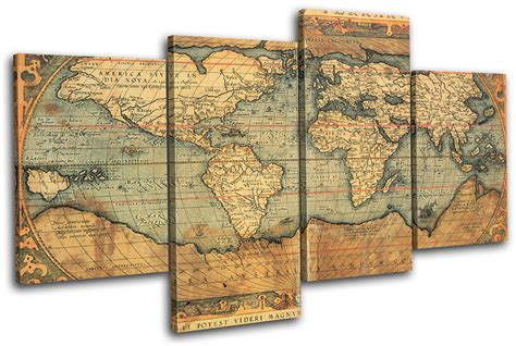 Canvas Decor Vintage World Map world atlas maps flags multi canvas wall picture print va ebay