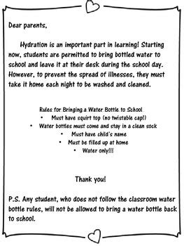 thank you letter to parents for money water bottle parent letter by leager teachers