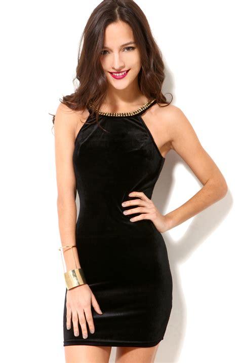 Velvet Mini Dress lyst jeweled neck velvet mini dress in black