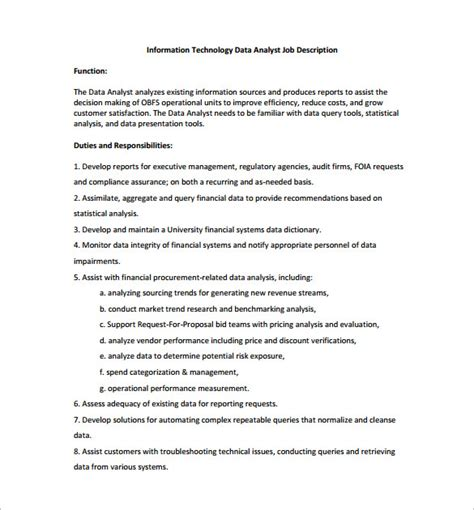 data analyst job description template 10 free word pdf