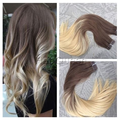 ash hair extensions 40pcs 100g skin weft ombre hair cuticle remy