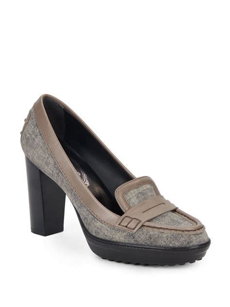 loafer heels tod s suede moc toe loafer pumps in gray lyst