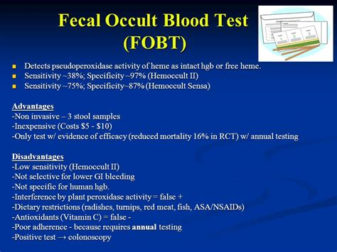 Stool C S Test by 10 Fecal Occult Blood Sc 1 St Slideplayer Colorectal