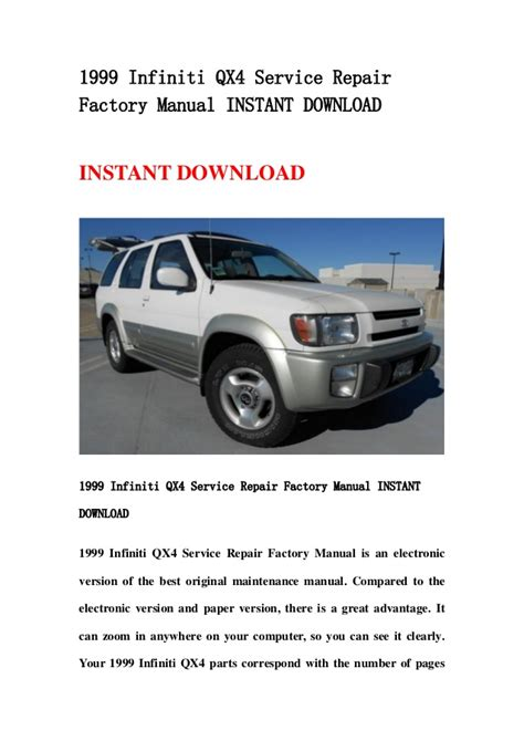 infiniti qx4 manual 1999 infiniti qx4 service repair factory manual instant