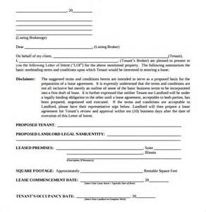 Sle Letter Of Intent To Lease Residential 10 Real Estate Letter Of Intent Templates Free Sle Exle Format Free